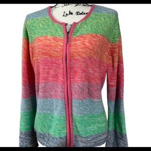 Crazy Horse Sweater Zip Front Cardigan Size L